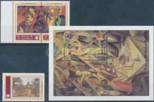 POLSKA international stamp exhibition, Polish painters set + block, POLSKA nemzetközi bélyegkiállítás, lengyel festők alkotásai sor (közte ívszéli pár) + blokk