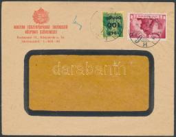 1946 (6.díjszabás) Helyi céges levél Kisegítő (III) 100P/12f + Újjáépítés 300P bérmentesítéssel