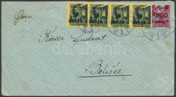 1945 (5.díjszabás) Levél Belisce-be Kisegítő (II-III) 20x9P/1f + 300P/30f bérmentesítéssel / Cover to Belisce (hajtóka nélkül / flap missing)