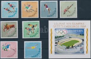 1968 Nyári olimpia sor Mi 1306-1313 A + blokk Mi 33 A