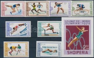 1972 Müncheni nyári olimpia sor Mi 1556-1563 + blokk Mi 45
