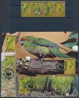 1987 WWF Futó papagáj négyescsík Mi 421-424 + 4 CM + 4 FDC