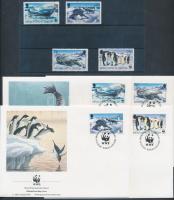 WWF Seals and penguins 4 values + 4 FDC, WWF Fókák és pingvinek 4 érték + 4 FDC