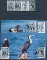 1989 WWF Tengeri madarak négyescsík + kisív Mi 408-411 + 4 CM + 4 FDC-n