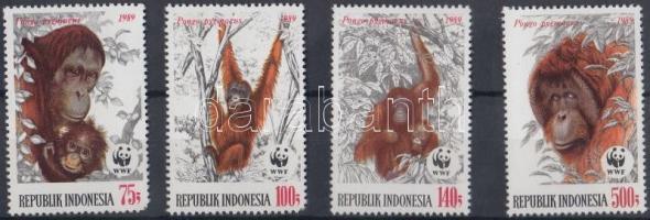 1989 WWF Borneói orángután sor Mi 1291-1294 + 4 CM + 4 FDC-n