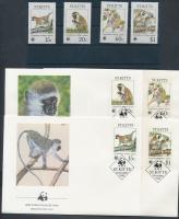 WWF Zöld majom sor + 4 CM + 4 FDC-n, WWF Green Monkey set + 4 CM + 4 FDC