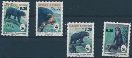WWF Spectacled Bear set + 4 CM + 4 FDC, WWF Pápaszemes medve sor + 4 CM + 4 FDC-n