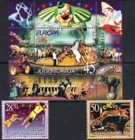 Europa CEPT: circus set + block, Europa CEPT: cirkusz sor + blokk, Europa CEPT: Zirkus Satz + Block