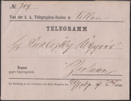 1867 Távirat kézbesítési boríték Zsolna