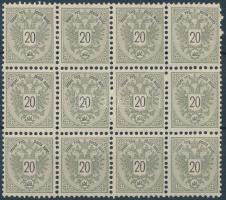 12-es tömb, 3 vízjeles bélyeggel block of 12, 3 stamps with watermark