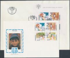 International Year of Child set + block on 2 FDC, Nemzetközi gyermekév sor + blokk 2 FDC