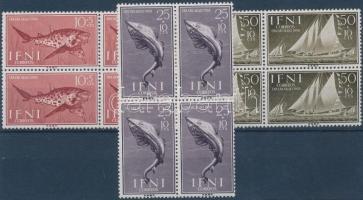 Bélyegnap: halak és hajók 3 négyestömb Stamp Day: Fish and Ships 3 blocks of 4