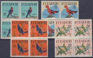 1958 Forgalmi: trópusi madarak 4 négyestömb (sor) Mi 981-984