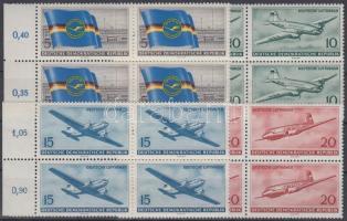 1956 A polgári légi közlekedés megnyitása az NDK-ban 4 ívszéli négyestömb Mi 512-515