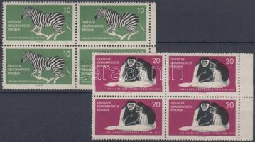 1961 100 éves a drezdai állatkert 2 ívszéli négyestömb (sor) Mi 825-826