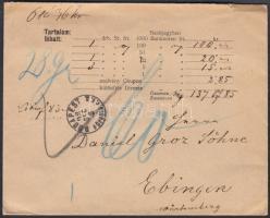 1898 Pénzeslevél Németországba