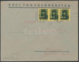1945 (5.díjszabás) Távolsági levél Kisegítő III 3x40P/8f bérmentesítéssel