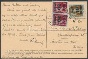 1945 (5.díjszabás) Helyi képeslap Kisegítő II 10P/80f + 2x20P/30f bérmentesítéssel