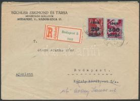 Inflation cover, (5.díjszabás) Helyi ajánlott levél Kisegítő II-III 20P/30f + 300P/30f bérmentesítéssel (megviselt boríték)