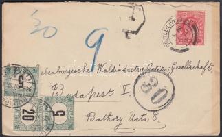 1909 Levél Angliából 30f portóbélyegzővel és 10f + 20f portóval