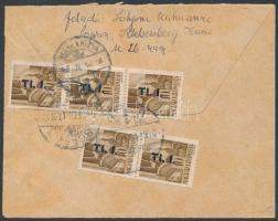 1946 (7.díjszabás) Távolsági céges levél Betűs I. 5xTl.I/10f bérmentesítéssel