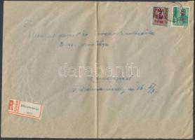 1946 (7.díjszabás) Ajánlott távolsági levél Betűs II. Tl.2/10f + Ajl.2/12f bérmentesítéssel A5-ös nagy boríték