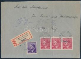 Böhmen und Mähren 1943 Ajánlott levél / Registered cover