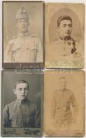 cca 1890-1930 4 db katonákat ábrázoló keményhátú fotó, különböző magyar és külföldi műtermekből, cca 7x10 cm