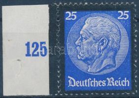 1934 Hindenburg halála ívszéli bélyeg Mi 553