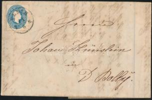 1863 15kr levélen / on cover PESTH B.H. - DUTSCH BOLLY
