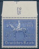 1939 70 éves a német lóversenyzés ívszéli bélyeg Mi 698