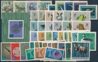 1954-1965 Animals and bird motives 45 stamps with full sets + 1 block, 1954-1965 Állat és madár motívum 45 db bélyeg, közte teljes sorok + 1 db blokk