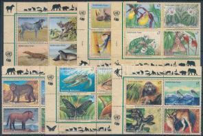 1993-2005 Veszélyeztetett állat- és növényfajok I-XIII 13 klf ívsarki négyestömb 2 stecklapon