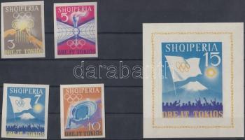 1964 Nyári olimpia vágott sor Mi 828-831 + vágott blokk 23