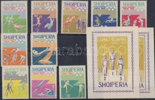 1964 Nyári olimpia, Tokió sor Mi 859-868 + vágott és fogazott blokk 26 A+B
