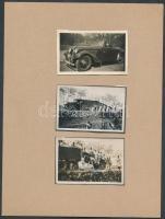 cca 1930 A hölgy lerobbant autóval, az éppen arra gyakorlatozó katonák szállító járművükkel a segítségére sietnek, 3 db fotó, 4,5x7 cm