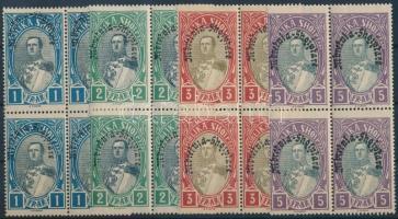 1928 Forgalmi záró értékek négyes tömbben Mi 195-198 (198 betapadás nyomok)
