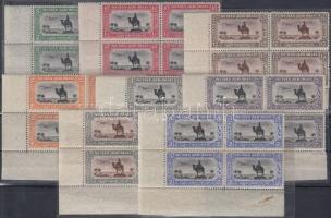 Air mail stamps 8 diff. corner blocks of 4 Légiposta bélyegek 8 klf ívsarki négyestömb