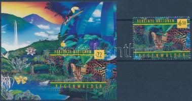 WHO: Protecting tropical rainforests stamp + block, 50 éves a WHO: trópusi őserdők védelme bélyeg + blokk