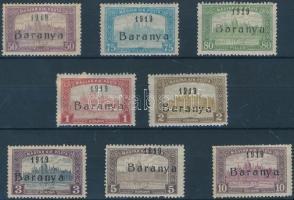 Baranya I. 1919 Parlament 50f-10K 8 érték antikva évszámmal Bodor vizsgálójellel (68.800) / Mi 27-34 with antiqua numbers