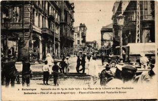1917 Thessaloniki, Salonique, Salonica; Fire of 18-19 August. Place of Libertée and Venizelos Street