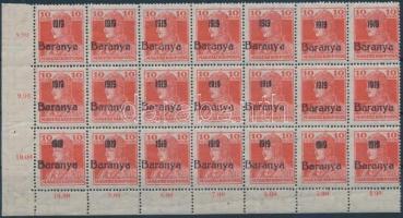 Baranya I 1919 Károly 10f ívsarki 21-es tömb, benne 2 db antikva / block of 21 with 2 antigua numbers, signed Bodor