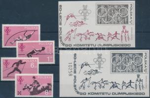1979 60 éves a Lengyel Olimpiai Bizottság sor Mi 2612-2615 + sima és feketenyomat blokk Mi 74