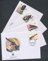 Southern bald ibis set 4 FDC, Déli tarvarjú sor 4 FDC