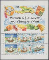 1992 Europa CEPT, 500 éve fedezték fel Amerikát üresmezős ívszéli sor Mi 2070-2072 + blokk 55