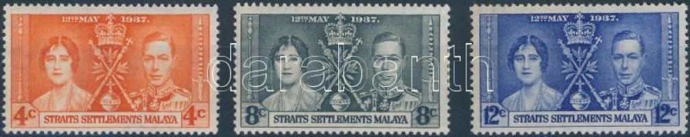 Straits Settlement 1937 VI. György és Erzsébet megkoronázása sor Mi 207-209