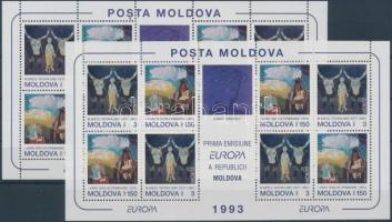 1993 Europa CEPT, Kortárs művészet kisív 2 féle fogazással Mi 94-95