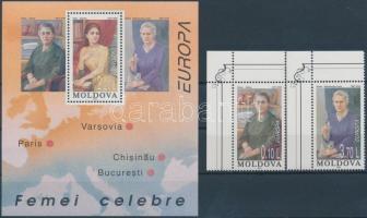 1996 Europa CEPT, híres nők kisív sor Mi 210-211 + blokk 9