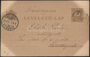 1899 Millenniumi 2kr díjjegyes levelezőlap (Budapest kiállítás) Bécs-Budapest vasúti bélyegzéssel