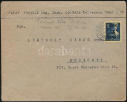 1945 (2.díjszabás) Távolsági levél Kisegítő 3P/50f bérmentesítéssel